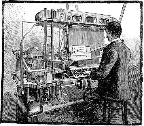 Gravure représentant une composeuse Blower (ancêtre de la Linotype)